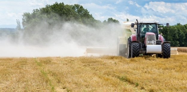 The liming action on the large wheat field